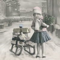 Lunch napkins Girl with sled