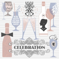Linclass Dinner napkins CELEBRATION grau / altrosa