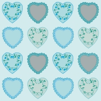 Linclass Dinner napkins SWEET LOVE blau