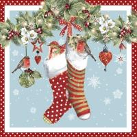 Napkins 25x25 cm - Chaussettes avec Guirlande red