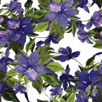 Serviettes cocktail  Flowering Clematis lilac