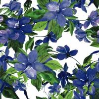 Serviettes cocktail  Flowering Clematis blue