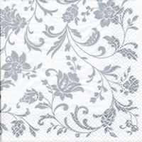 Cocktail Servietten Arabesque White silver-white