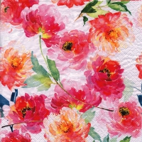 Cocktail napkins Summer Roses white
