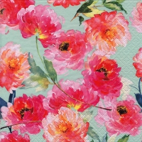 Cocktail napkins Summer Roses mint