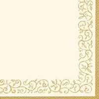 Cocktail Servietten Romantic Border gold-ivory