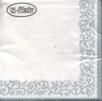 Cocktail napkins Romantic Border silver-white