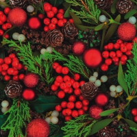 Servilletas Lunch Red Berries & Baubles