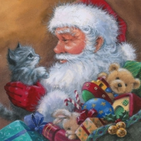 Serviettes lunch Santa with Kitten