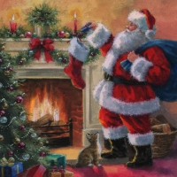 Lunch napkins Santa placing Presents in Stockings