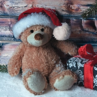 Lunch napkins Christmas Teddy with Present