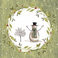 Lunch napkins Snowman with Tree green