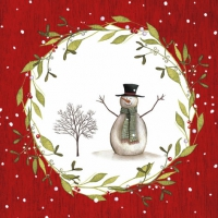 Lunch napkins Snowman with Tree red