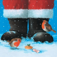 Lunch Servietten Two Robins at Santas Feet
