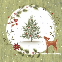 Servilletas Lunch Fawn with Christmas Tree green