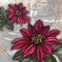 Lunch Tovaglioli Flores de la Navidad red