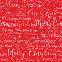 Serviettes lunch Christmas Words red
