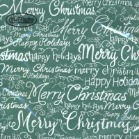 Serviettes lunch Christmas Words green
