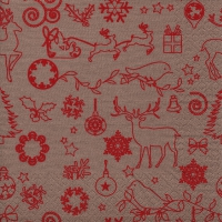 Servilletas Lunch Seasonal Icons beige/red