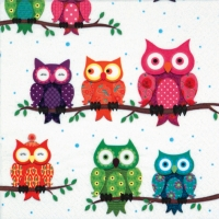 Serviettes lunch Colourful Owls