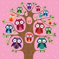 Lunch Servietten Owl Family Tree pink
