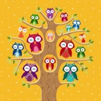 Lunch Servietten Owl Family Tree pumpkin