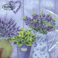 Lunch napkins Lilac Flowers with Heart