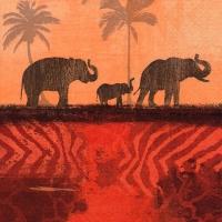 Servietten 33x33 cm - Elefanten in Morning Nebel oxidrot