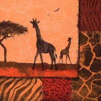 Servietten 33x33 cm - Giraffe Collage oxidrot