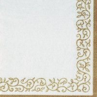 Lunch napkins Romantic Border gold-white