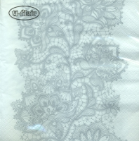 Lunch Servietten Lace Pattern silver