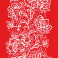 Lunch napkins White Lace red