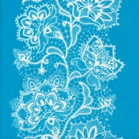 Lunch napkins White Lace teal