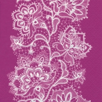 Lunch napkins White Lace pink