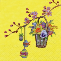Serviettes lunch Twig with Wicker Basket yellow