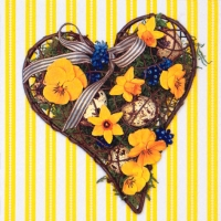 Serviettes lunch Eater Heart yellow