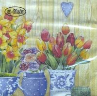 Lunch Servietten Macetas con Flores Primavera