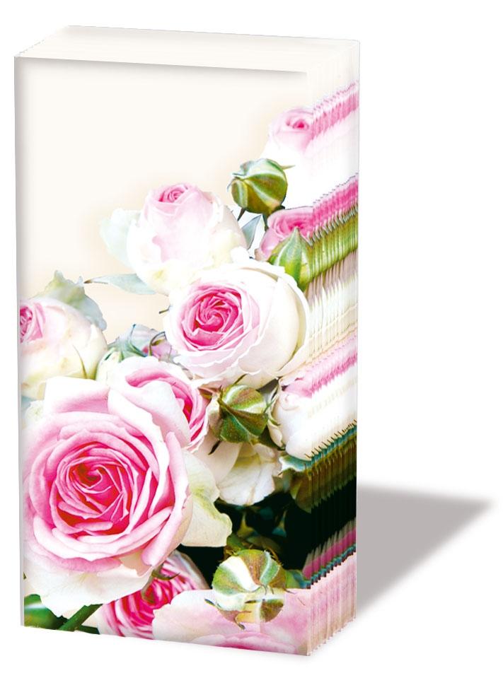 10 bedruckte Taschentücher MAXIMA CREAM,  Blumen,  Everyday,  bedruckte papiertaschentücher,  Rosen