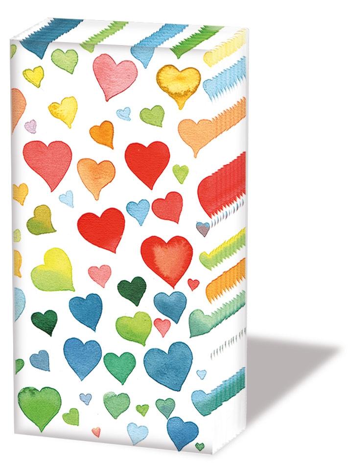 Taschentücher Colourful Hearts Mix,  Everyday,  bedruckte papiertaschentücher,  Herzen