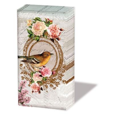 Taschentücher Nostalgia,  Tiere,  Blumen,  Everyday,  bedruckte papiertaschentücher,  Rosen,  Vögel