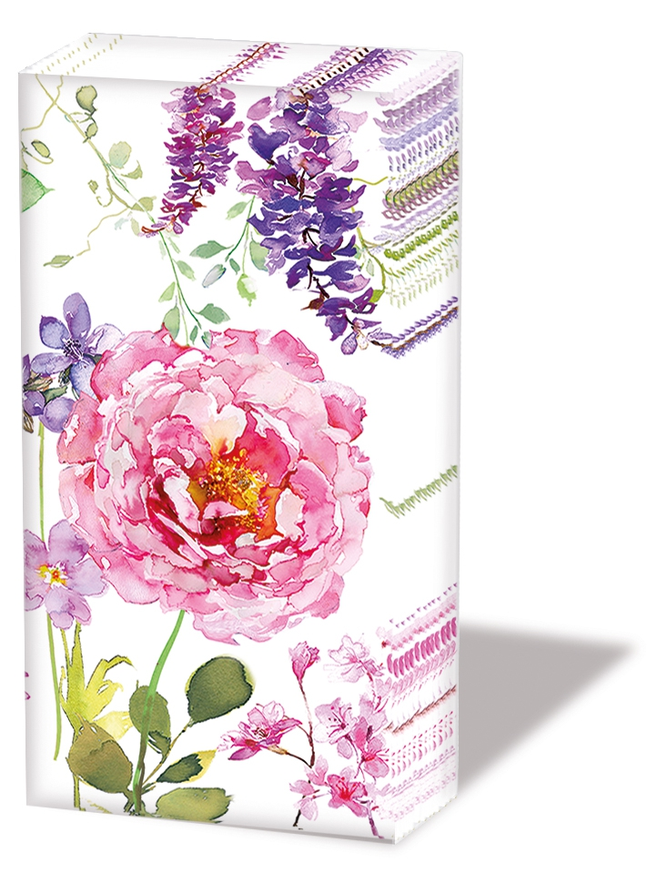 Taschentücher Pink Roses White,  Blumen,  Everyday,  bedruckte papiertaschentücher,  Rosen
