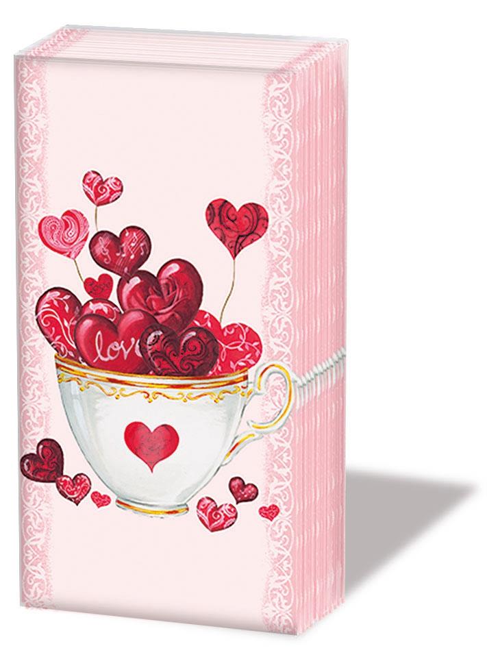 Taschentücher Cup of Hearts,  Ereignisse,  Everyday,  bedruckte papiertaschentücher,  Herzen