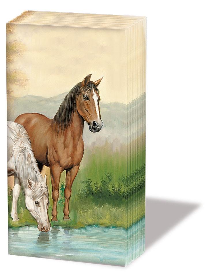 Dekorkerzen - rund - groß,  Tiere,  Everyday,  bedruckte papiertaschentücher,  Pferde