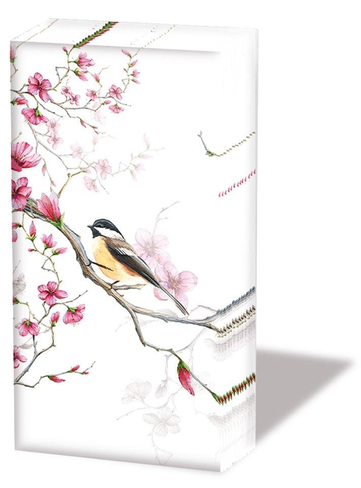 Taschentücher - Vogel & Blüte Weiß
