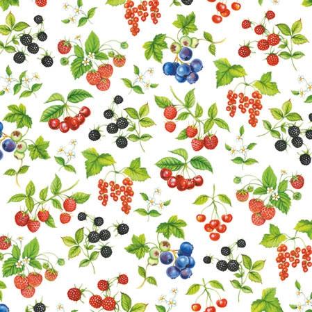 20 Servietten - 25 x 25 cm FRUIT,  Früchte - Himbeeren,  Früchte - Brombeeren,  Everyday,  cocktail servietten,  Heidelbeeren