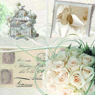 20 Servietten - 25 x 25 cm WEDDING MEMORIES,  Sonstiges - Schriften,  Blumen - Rosen,  Everyday,  cocktail servietten,  Schuhe,  Vogelkäfig