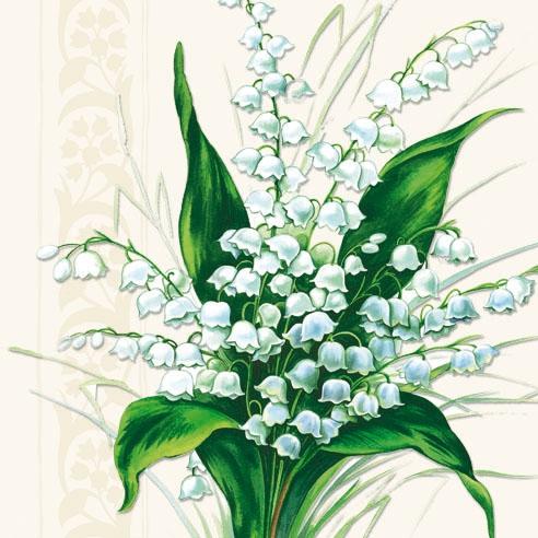 20 Servietten - 33 x 33 cm SWEET WHITE BELLS,  Blumen -  Sonstige,  Everyday,  lunchservietten,  Maiglöckchen