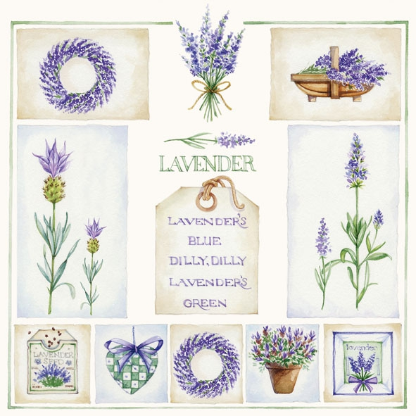20 Servietten - 33 x 33 cm ,  Sonstiges - Schriften,  Blumen - Lavendel,  Everyday,  lunchservietten