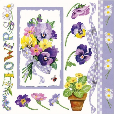 Lunch Servietten PANSY BOUQUET LILA