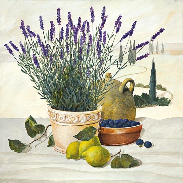 20 Servietten - 33 x 33 cm TUSCANY STILL LIFE,  Früchte - Südfrüchte,  Früchte - Oliven,  Blumen - Lavendel,  Everyday,  lunchservietten,  Zitronen
